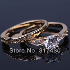 828d97e3bf US $15.86 |Best quality Couple Ring 18k Yellow Gold Filled cut Cubic  Zirconia Halo 1.25ct Engagement Ring set hot sales-in Rings from Jewelry &  Accessories ...