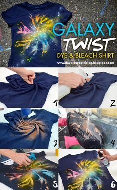 Galaxy Projects - Nebula, Space and Universe Galaxy twist dye bleach shirtGalaxy twist dye bleach shirt Bleach Shirt Diy, Diy Tie Dye Shirts, Bleach Tie Dye, Diy Shirt, Bleach Pen, Gebleichte Shirts, Diy Galaxie, Ty Dye, Fabric Spray Paint