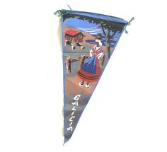 Galicia Souvenir Pennant, Small Vintage Painted Flag from Spain by planetalissa on Etsy
