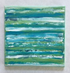 """Spring is in the Air with this Original Abstract Painting. Beautiful layers of bold Spring Green, Turquoise and White. The sides of the painting have been lightly distressed for the Shabby or Primitive look! Would look incredible in a farmhouse kitchen! 10 in x 10 in in size """"Springtime"""