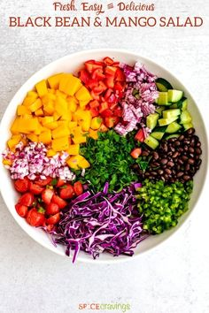 This Black Bean Mango Salad is bursting with sweet mango, savory black beans and tons of crunchy vegetables tossed in lime dressing and ready in 15 minutes! #mango #blackbeans #salad Gluten Free Recipes For Dinner, Dinner Recipes, Dinner Ideas, How To Cook Beans, Mango Salad, Healthy Salad Recipes, Paleo Recipes, Lime Dressing, Cooking Black Beans