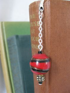 Bookmark with bead charm bookmark hook style by Trudysbeads