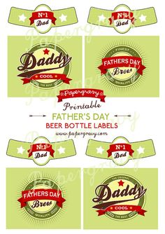 PRINTABLE Retro Fathers Day Beer Bottle labels by papergravystore, $7.50
