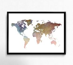 Watercolour World Map Wall Art Poster, Brown Pink Blue, Size 5x7, 8x10, 11x14, A5, A4 or A3: Amazon.co.uk: Handmade
