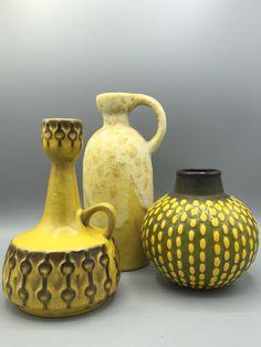 Ceramano, Ruscha, Jasba yellow WGP group. Midcentury Ceramics. VintageCeramics4You.