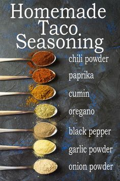 The BEST Homemade Taco Seasoning with the perfect balance of flavors. So quick and easy to make with spices you probably already have in your cupboard. You'll never want to buy prepackaged taco seasoning again! Homemade Spices, Homemade Taco Seasoning, Seasoning Mixes, Low Sodium Taco Seasoning Recipe, Taco Meat Seasoning, Homemade Dry Mixes, Homemade Spice Blends, Mexican Food Recipes, Vegan Recipes