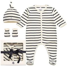 Navy Blue Striped Babygrow, Hat & Mittens Set , Petit Bateau