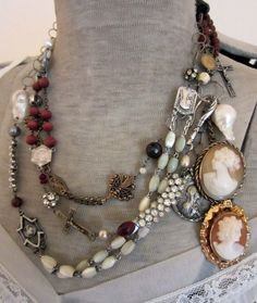 Vintage jewelry ..WHICH i COLLECT, STARTING WITH MY MOTHER'S. SHE HAD GREAT TASTE ...I WOULD NOT WEAR IT ALL AT ONCE, THIS DISPLAY IS JUST THAT, A DISPLAY!
