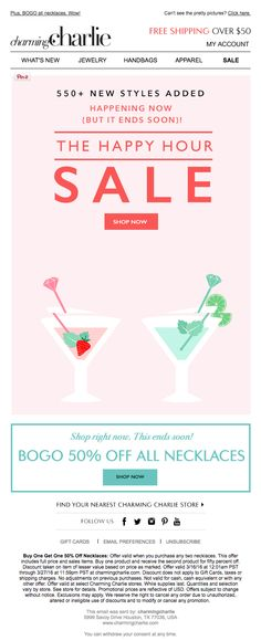 Charming Charlie happy hour sale email 2016