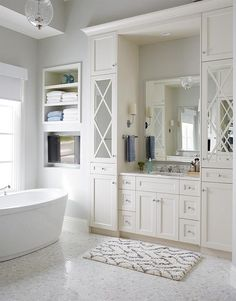 Master bathroom – Benjamin Moore 'Gray Owl' Home by Andrew Howard Interior Design Owl Bathroom, Tv In Bathroom, Grey Bathrooms, Diy Bathroom Decor, Bathroom Design Small, Simple Bathroom, Bathroom Ideas, Bathroom Inspiration, Bath Ideas