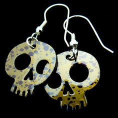 A VIOLET DEATH Wicked Fun Metal Skull Earrings by by theraveniron, $40.00