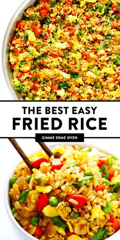 The BEST homemade fried rice recipe!! It only takes 15 minutes to make, it's easy to customize with your favorite add-ins (like chicken, pork, beef, shrimp, tofu, and/or vegetables), and it is SO flavorful and delicious! Way better than any Chinese takeout I've ever tried. ;) | gimmesomeoven.com #rice #friedrice #chinese #dinner #takeout #vegetarian #asian #easy