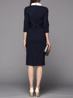 Navy Blue 3/4 Sleeve Pockets Stand Collar Rayon Midi Dress