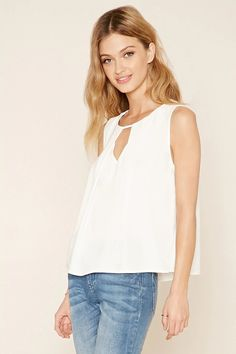 Forever 21 Contemporary - A sleeveless woven top with a buttoned keyhole back, a sharp cutout accent below the round neckline, and subtle pleats at the front. #f21contemporary