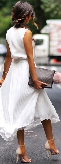 #spring #outfits   White Top + White Maxi Skirt + Light Sandals