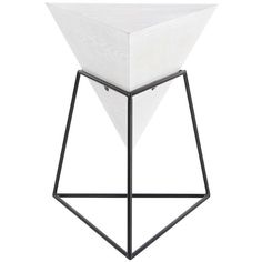 UMA White Contemorary Pyramid Side Table ($70) ❤ liked on Polyvore featuring home, furniture, tables, accent tables, white furniture, white lamp table, white end table, minimalist furniture and white side table