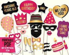 Birthday photo booth props: printable PDF. Pink and gold birthday party supplies. Instant download. Mustache, glasses, happy birthday