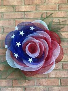 (Please read description box and pinned comment) Dollar Tree Splatter Guard Deco Mesh Rose Wreath Fourth Of July Decor, 4th Of July Decorations, 4th Of July Wreath, July 4th, Outdoor Decorations, Deco Mesh Crafts, Wreath Crafts, Diy Wreath, Deco Mesh Wreath Tutorial