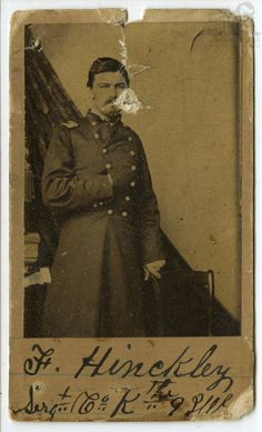 Civil War Union soldier, Ferdinand Hinckley, from Belleville, St. Clair County, Illinois, who served in the 9th Illinois Infantry Regiment, Company K. He is pictured here in his army uniform (1861-65). Serg Ferd Hinckley Belleville Ill formerly Private Co. K 9th Ill Infantry; Carte de Visite W. L. Troxell, Photographer, S. W. corner of Fourth and [?] street, St. Louis MO