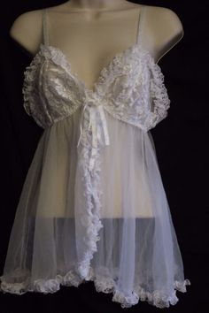 Frederick's of Hollywood Sexy Babydoll Nightgown White Sheer Lace Bust Medium #FredericksofHollywood #BabydollChemise