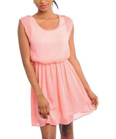 Take a look at this Coral Dot Cap-Sleeve Dress by Buy in America on #zulily today!