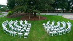 Ceremony set up. We love the stadium seat arrangement.