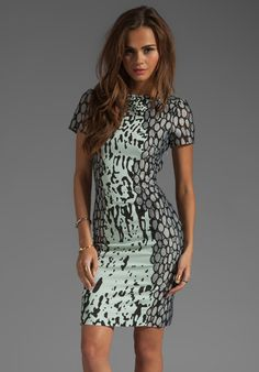 DIANE VON FURSTENBERG Queen Stretch Dress in Paint Marks Mint/Leopard at Revolve Clothing - Free Shipping!