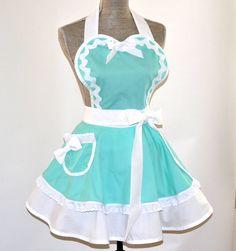 Etsy listing at https://www.etsy.com/listing/152590008/apron-tiffany-blue-aqua-teal-and-white