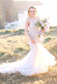 Romantic blush wedding dress: http://www.stylemepretty.com/little-black-book-blog/2016/03/17/ireland-sunset-inspired-wedding-inspiraton/ | Photography: Kay English - http://kayenglishphotography.com/