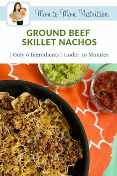Ground Beef skillet nachos make an easy weeknight meal ready in less than 30 minutes and packed with healthy foods like lean beef and veggies. Healthy Beef Recipes, Ground Beef Recipes Easy, Baby Food Recipes, Toddler Recipes, Healthy Lunches, Family Recipes, Healthy Foods, Easy Weeknight Meals, Easy Meals