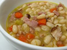 Ham and navy bean soup for the leftover ham bone that still has a lot of meat on it