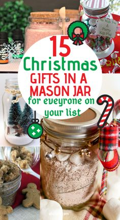 15 Mason Jar Christmas Gifts for Coworkers, friends, teachers, and family. Most of these DIY Christmas gifts in a jar are super cheap and easy to make! Perfect gift idea for women and men alike. Homemade recipes for edible gifts. Easy Homemade Christmas Gifts, Diy Gifts In A Jar, Diy Christmas Gifts For Friends, Mason Jar Christmas Gifts, Diy Gifts For Men, Diy Christmas Gifts For Family, Easy Diy Gifts, Mason Jar Gifts, Christmas Decor