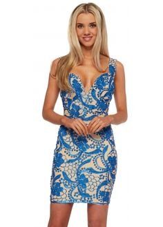Holt Blue & Nude Hand Painted Brie Dress