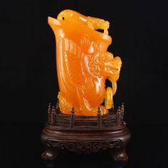 Superb Indonesia Natural Jin Tian Huang Statue - Fortune Beast Free Certificate