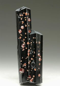 Spessartine Garnet on Schorl Tourmaline from Pakistan. Crystal Classics Minerals.