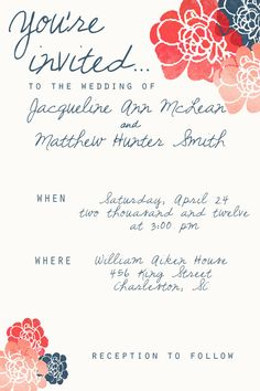 Painted Petals Wedding Invitation    coral red navy flowers handwriting