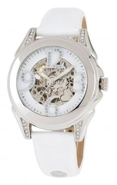 Carlo Monti CM801-186 Messina White Mother of Pearl  Automatic Skeleton Watch For Women