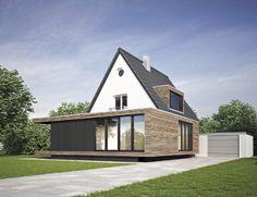 Hvid pudset murermestervilla med moderne tilbygning
