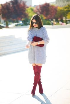Winter Fashion Outfits, Fall Winter Outfits, Stylish Outfits, Autumn Winter Fashion, Christmas Outfits, Winter Boots, Red Boots, Casual Wear, Ideias Fashion