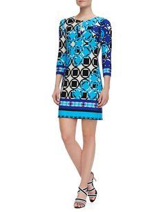 ALI RO 3/4-Sleeve Geo Print Jersey Dress