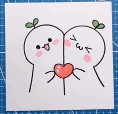 Easy Love Drawings, Cute Drawings Of Love, Easy Doodles Drawings, Love Doodles, Mini Drawings, Art Drawings For Kids, Simple Doodles, Kawaii Drawings, Cute Doodle Art