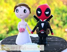 Deadpool Wedding Cake Topper with Stand and by FairyTalesHandmade