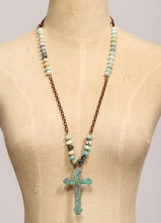 Beaded Turquoise and Copper Necklace with Hanging Cross