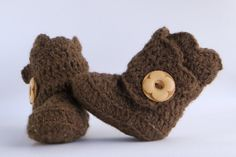 Brown Crochet Shell Wrap Boots Choose Your Size by babybuttercup, $22.00