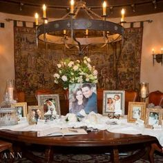 Sign in guest table with pictures of the bride and groom and their family members when they got married   Leslie Ann Photography   villasiena.cc