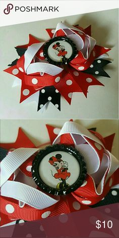 New Minnie Mouse Hairbow Brand new. 4.5 inches.  Red, white, and black polka dot hair bow comes on an alligator clip. Accessories Hair Accessories