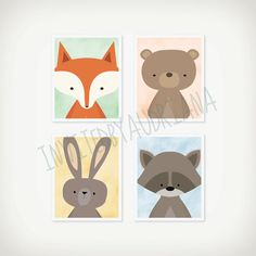 Woodland Animal Nursery Wall Art Printable, Fox, Bear, Bunny, Raccoon, Baby Shower Gift, Camping Bedroom Decor, Gender Neutral Nursery by INVITEDbyAudriana on Etsy https://www.etsy.com/listing/226703369/woodland-animal-nursery-wall-art