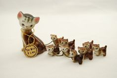 Vintage Cat With 9 Lives Figurine Set - Mother Cat and Litter of 8 Kittens with Gold Chain Leash and Original Label - 1950's Japan //38