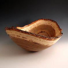 Natural Bark Edge Hickory Wood Turned Bowl by JLWoodTurning