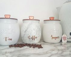 Grey/Silver/White/Copper Tea Coffee Sugar canister tea caddy Kitchen canister kitchen storage marble decor kitchen decor painted Kilner jars Kitchen – home accessories Kitchen Decor Sets, Kitchen Canister Sets, Kitchen Storage, Storage Canisters, Bathroom Canisters, Copper Kitchen Accessories, Copper Kitchen Decor, Purple Kitchen, Tea Coffee Sugar Canisters
